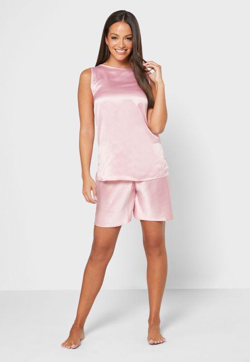 Sleeve Top & Pyjama Shorts Set