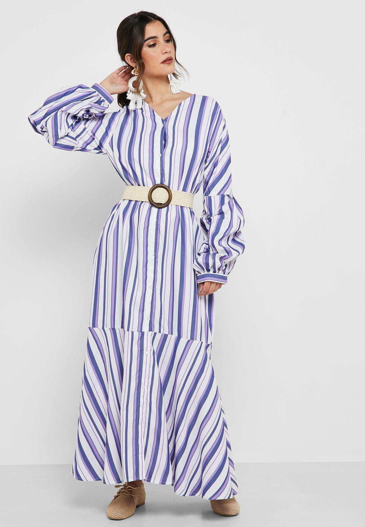 Striped Pephem Dress