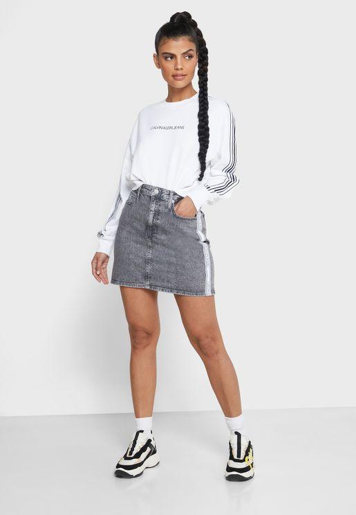 تنورة جينز بخصر عالي