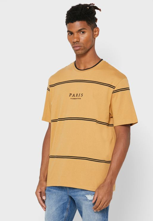 Stripe Detail Crew Neck T-Shirt