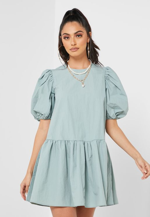 Puff Sleeve Smock Mini Dress