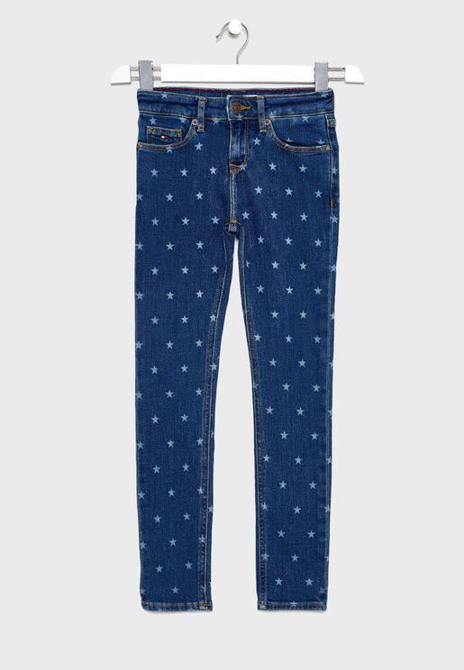 بنطال جينز بطبعة نجوم