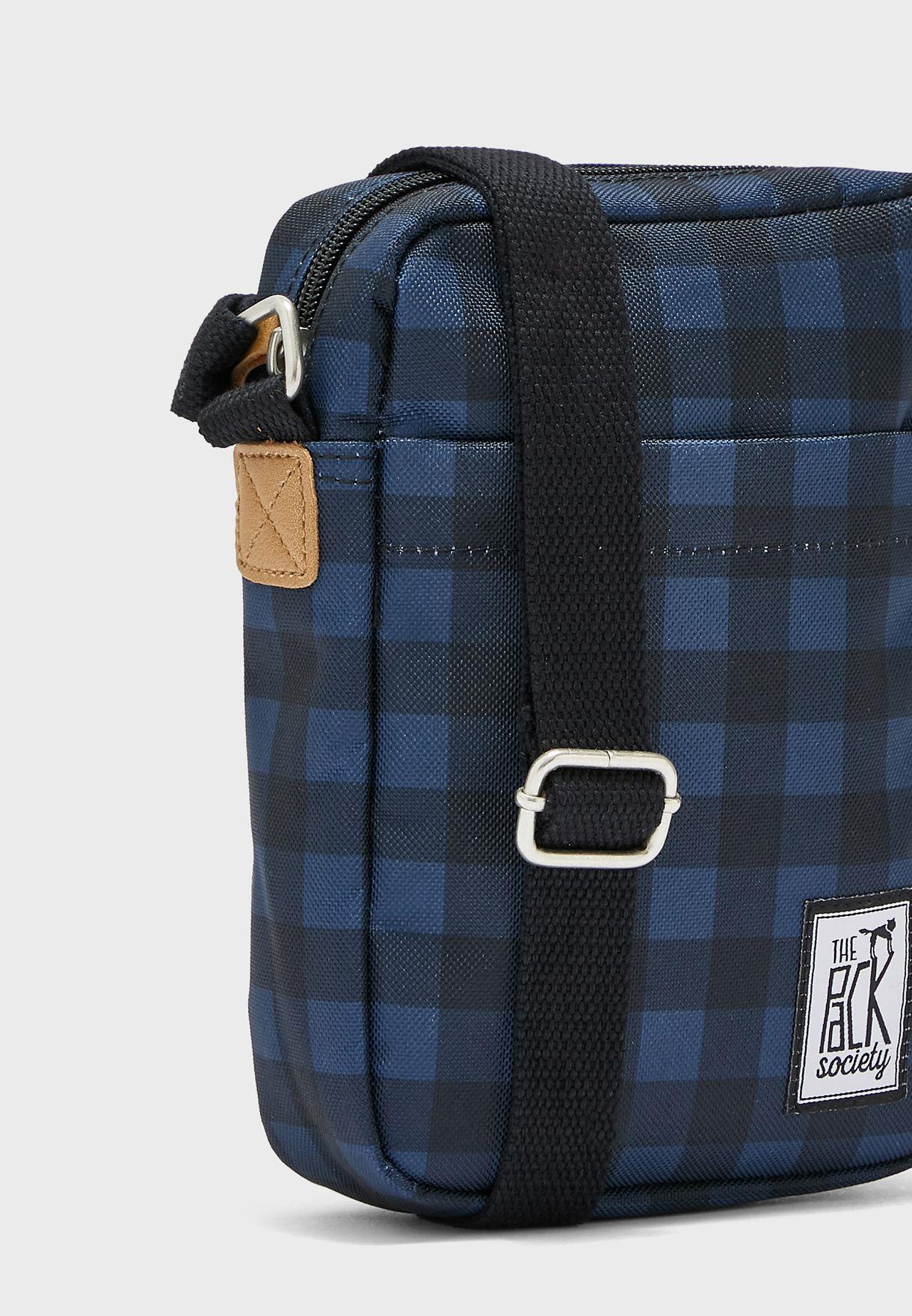 Check Print Small Messenger Bag