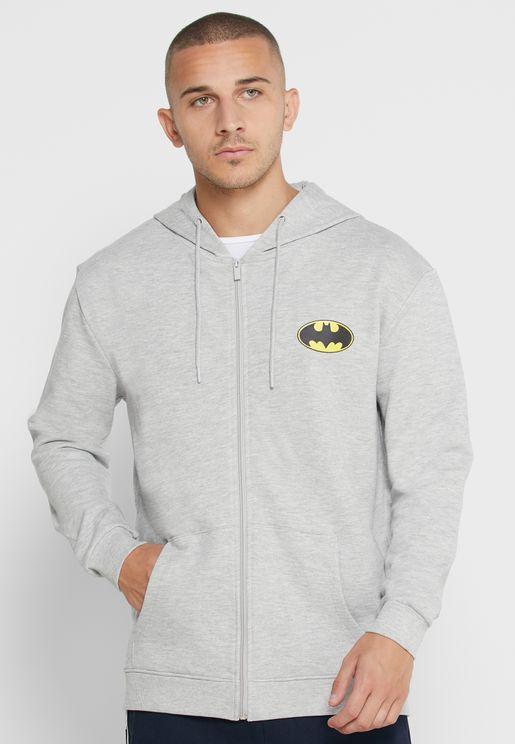 Batman Logo Zip Through Hoodie
