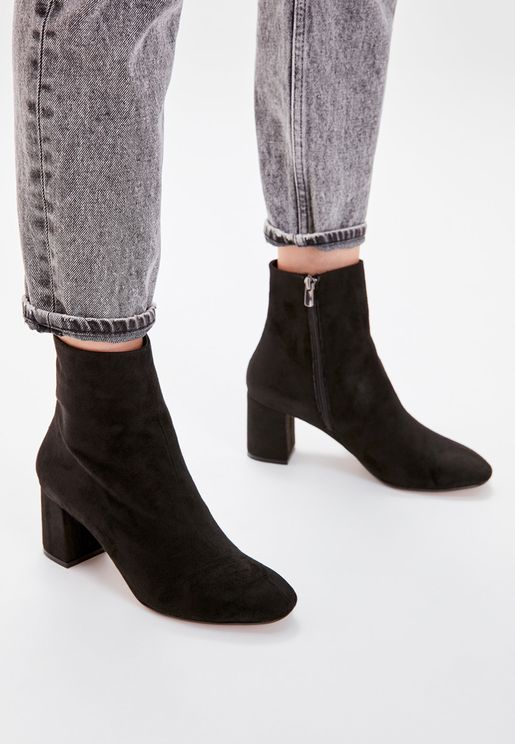 Suede Zip Through Block Heel Boot