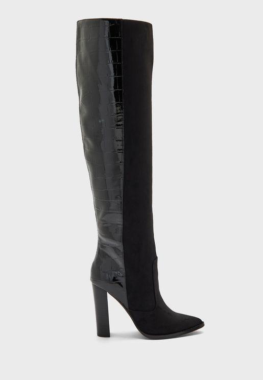 Wf Tropic High Leg Croc Back Boot