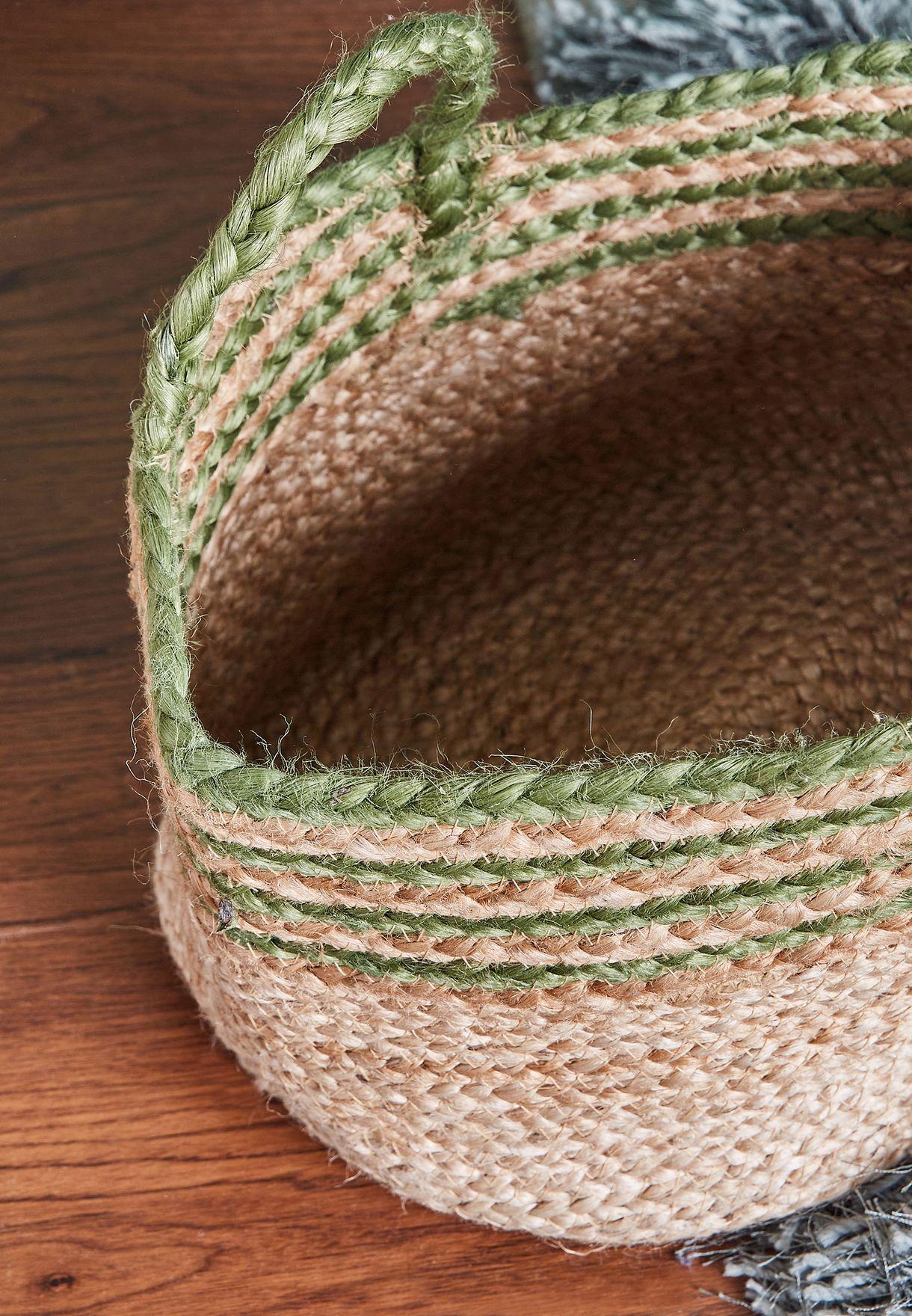 Stripe Jute Storage Basket