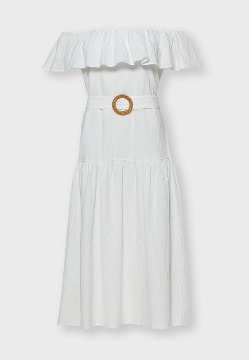 Bardot Tiered Hem Dress