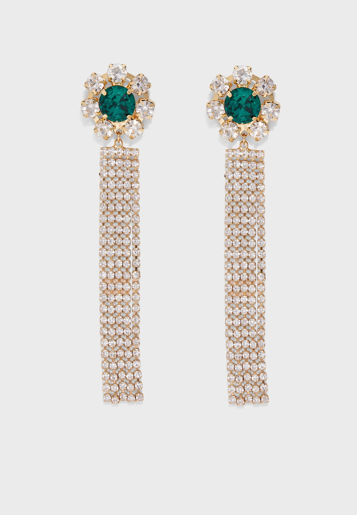 Crystal Flower Cupchain Drop Earrings