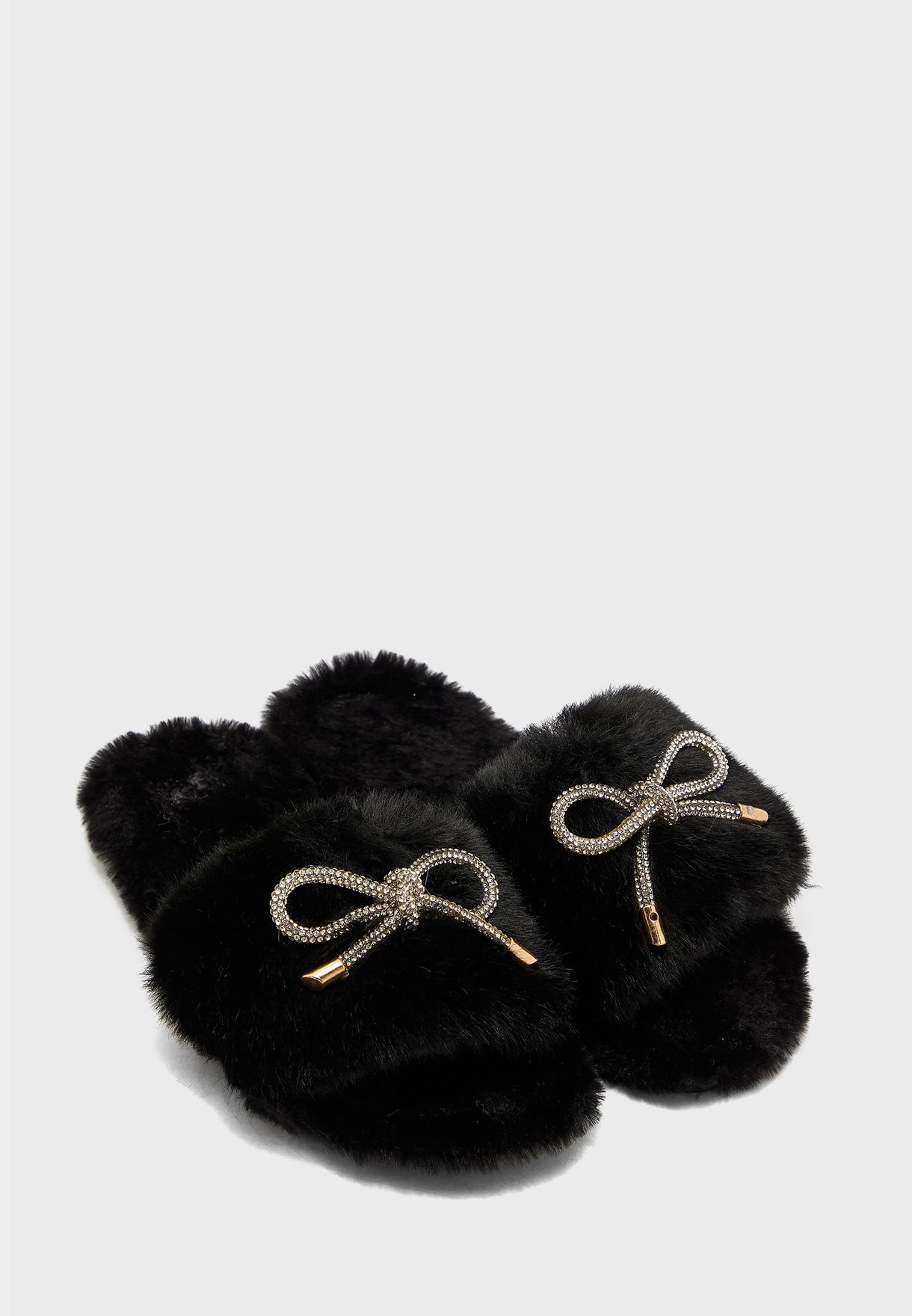 Diamante Bow Fluffy House Slippers