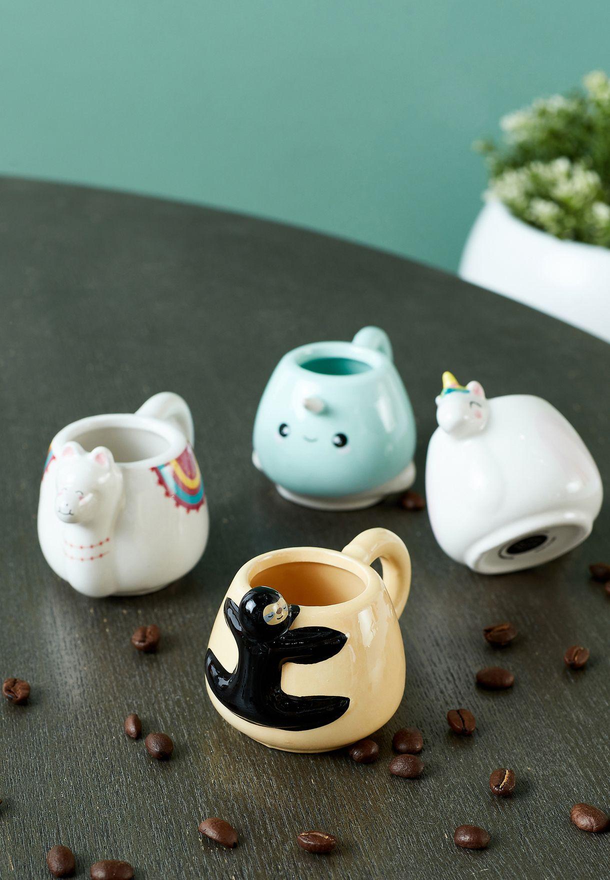 Set of 4 Shaped Espresso Mugs