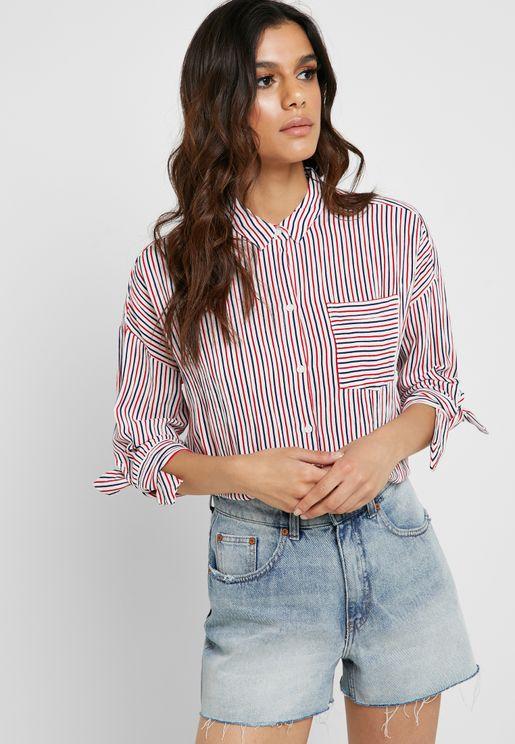 453878f0f1 Tie Sleeve Striped Shirt