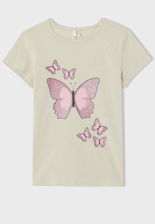 Kids Butterfly Print T-Shirt
