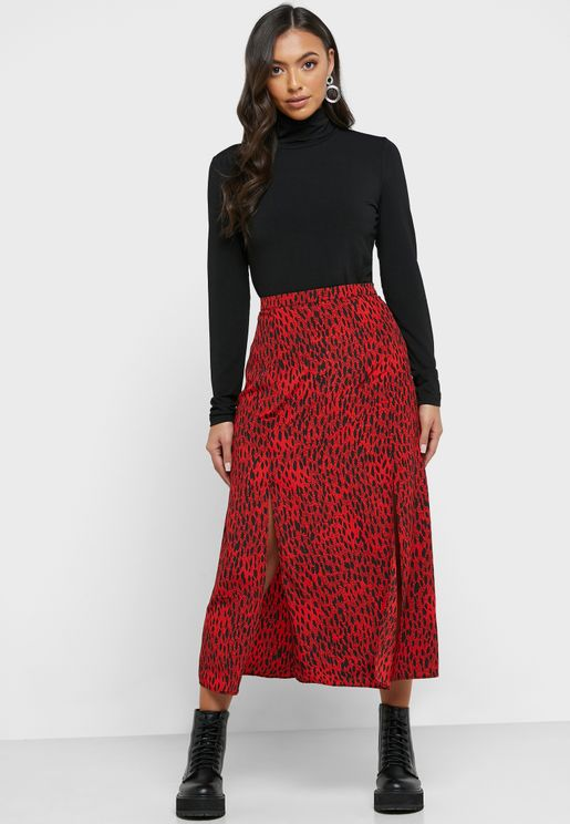 Front Split Printed Midi Skirt