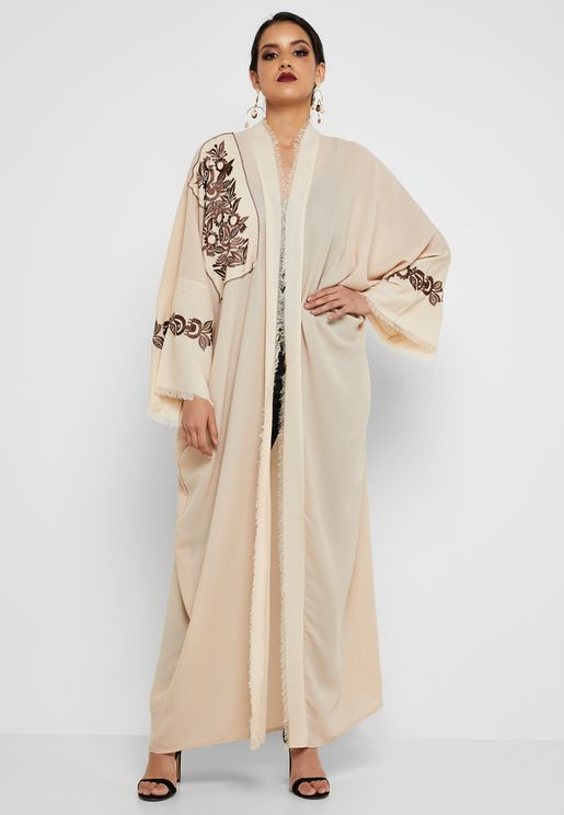 Embroidered Pleated Abaya