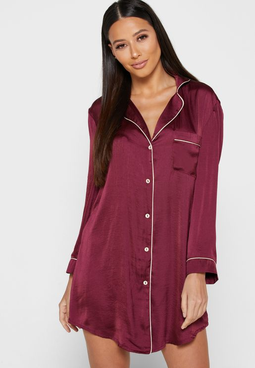 Contrast Piping Shirt Nightdress