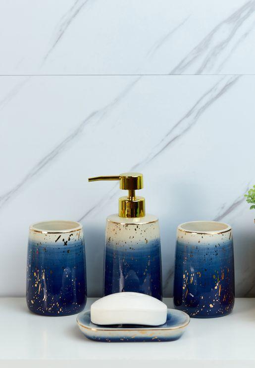 Blue & Gold Foil Bathroom Set