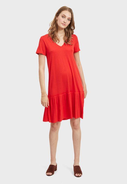 Plisse Detail Dress