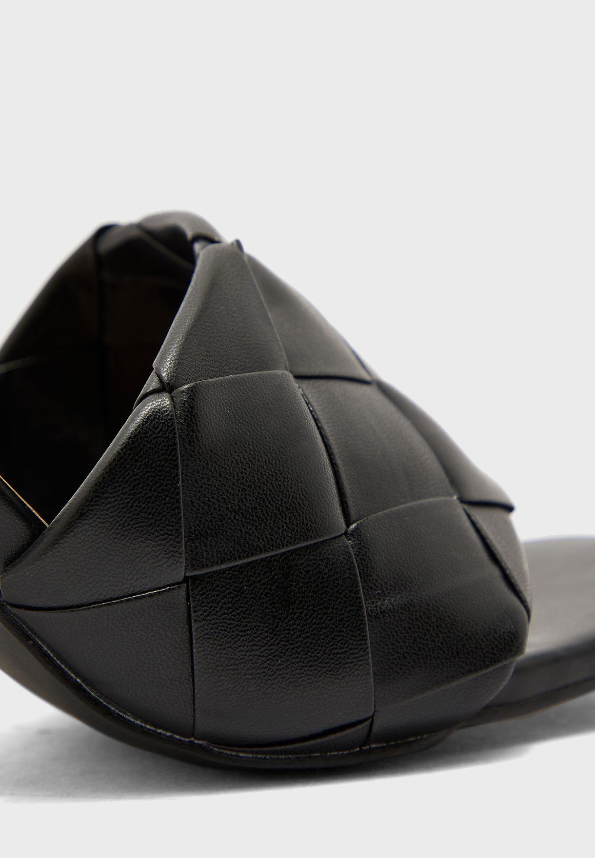 Weaved Square Toe Stilettto Mule