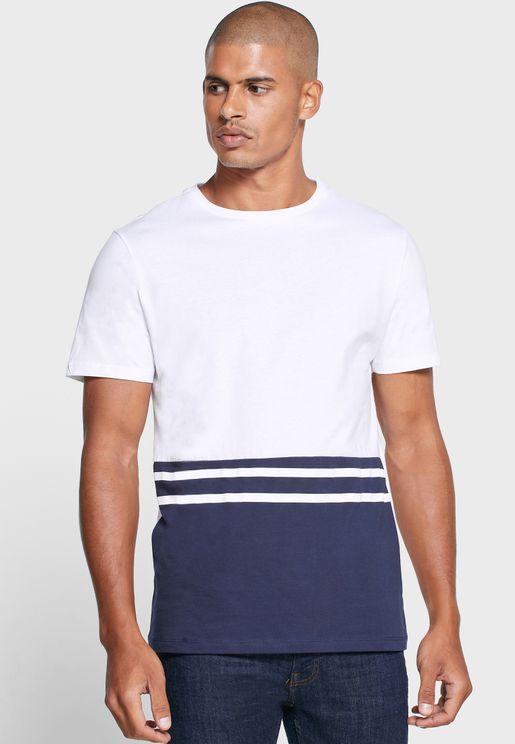 Colour Block Crew Neck T Shirt