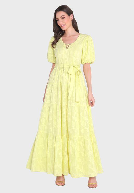 Puff Sleeve Pleated Dress