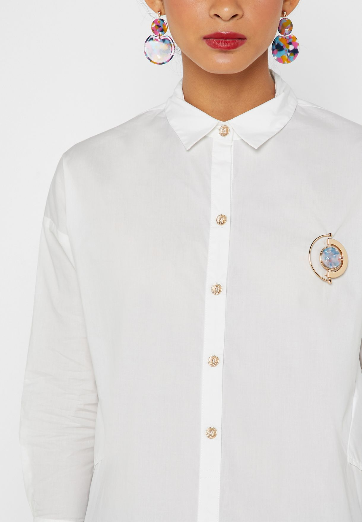 Contrast Button Detailed Shirt