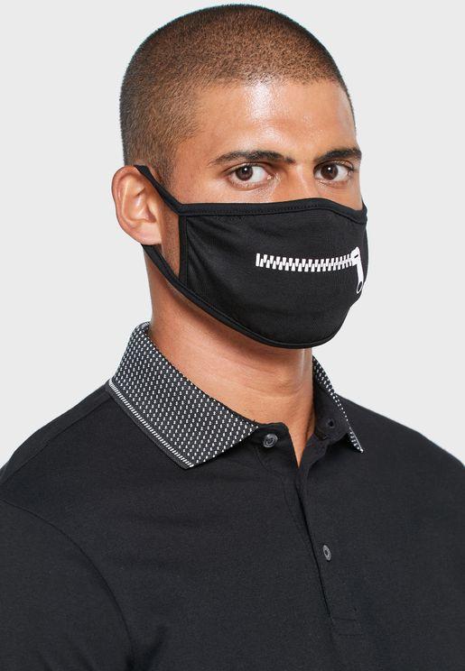 Zipper Print Face Mask
