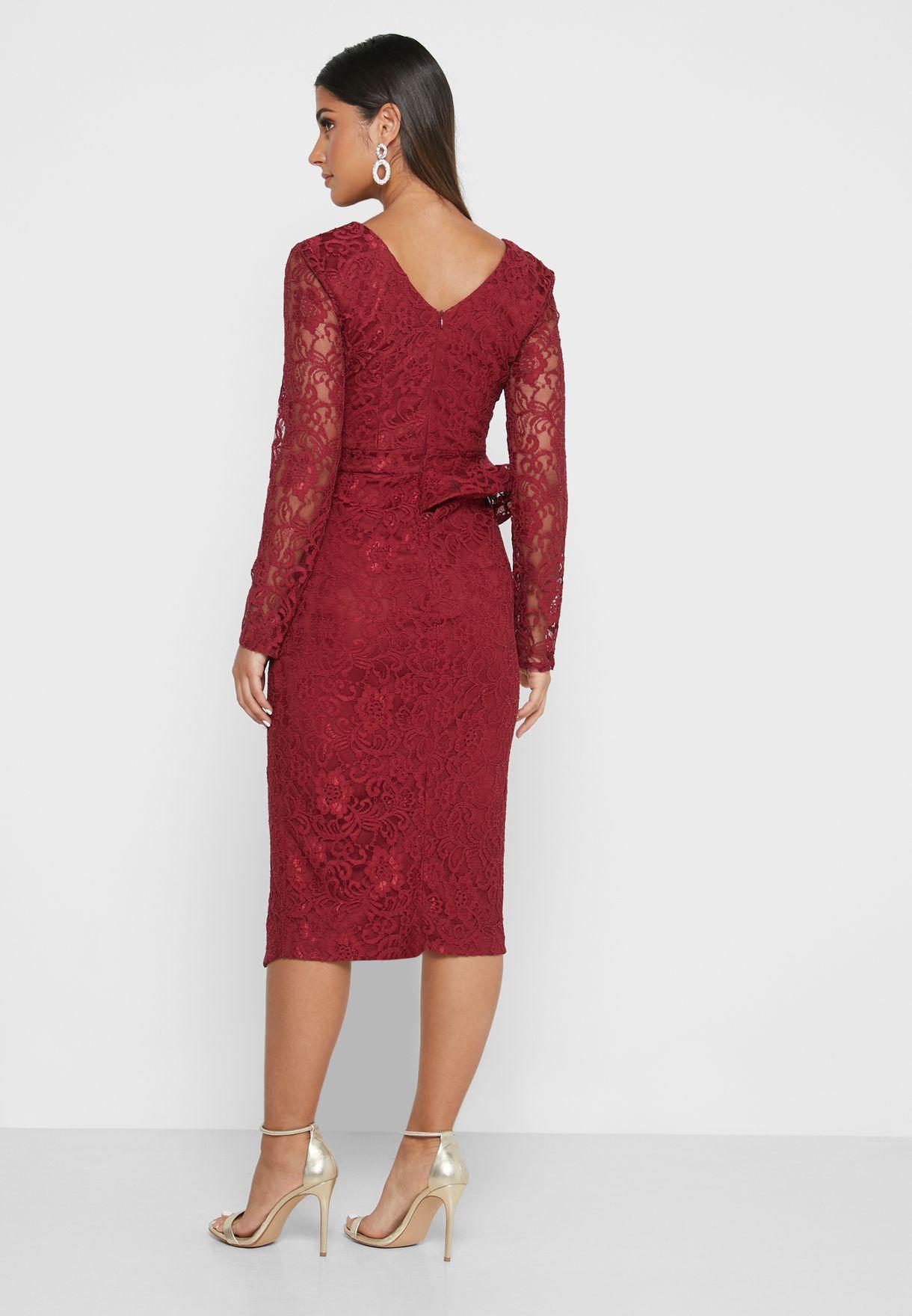 Ruffle Slit Front Midi Dress