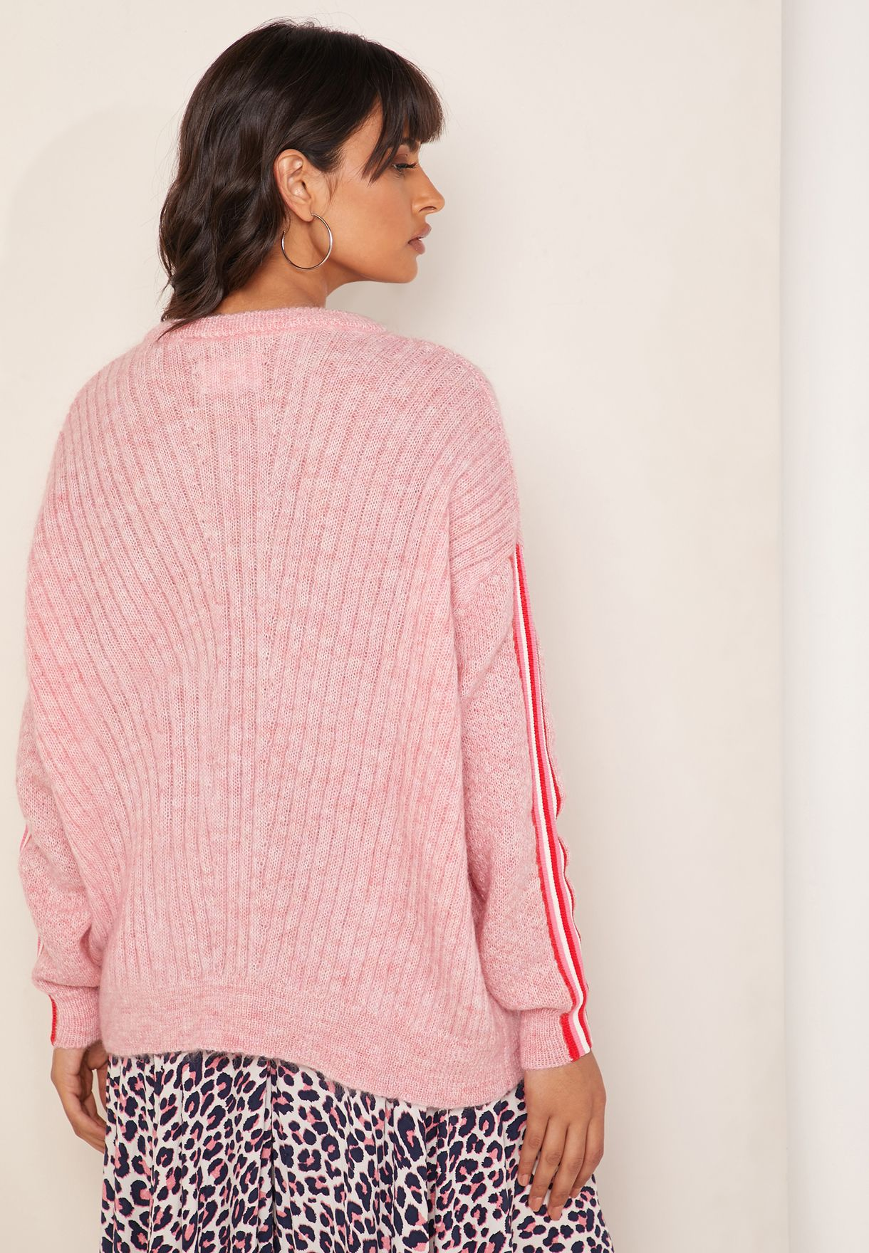 Ribbed Side Strip Sleeve Detail Sweater