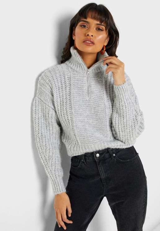 Zip Detail Cable Knit Sweater