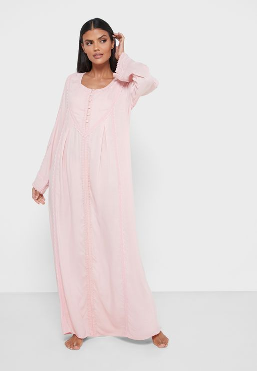 Full Sleeve Button Detail Nightdress