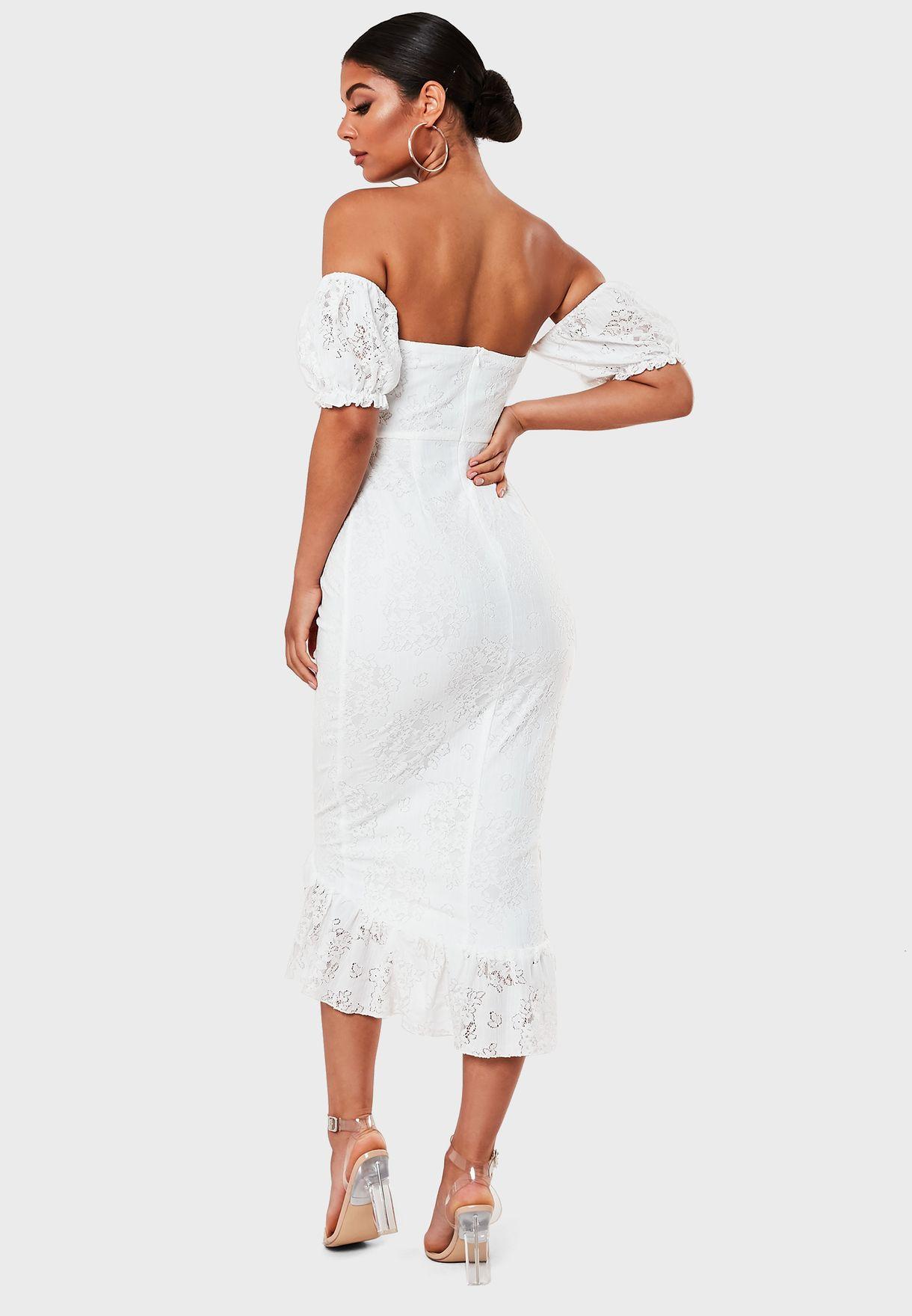 فستان دانتيل بكشكش