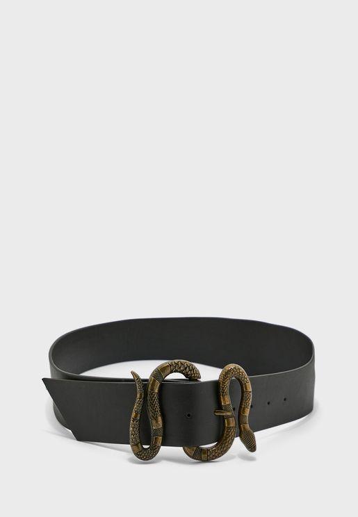 Snake Detail Buckle Belt
