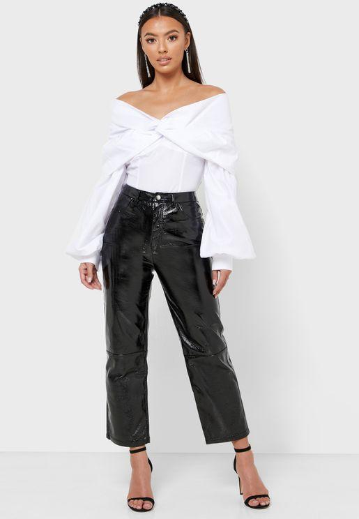 Cropped Pu Pants