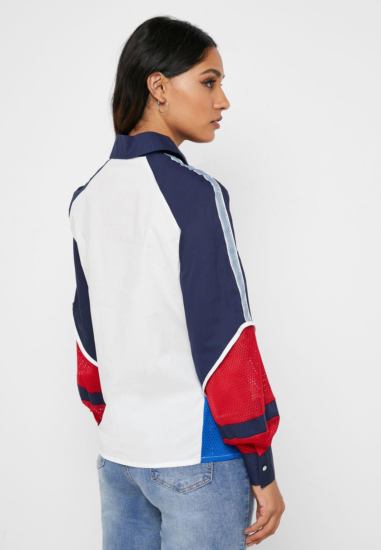 Zip Up Colorblock Sweatshirt