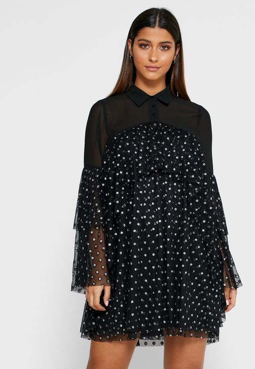 Mesh Polka Dot Swing Dress