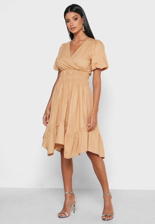 Ruched Waist Ruffle Hem Midi Dress