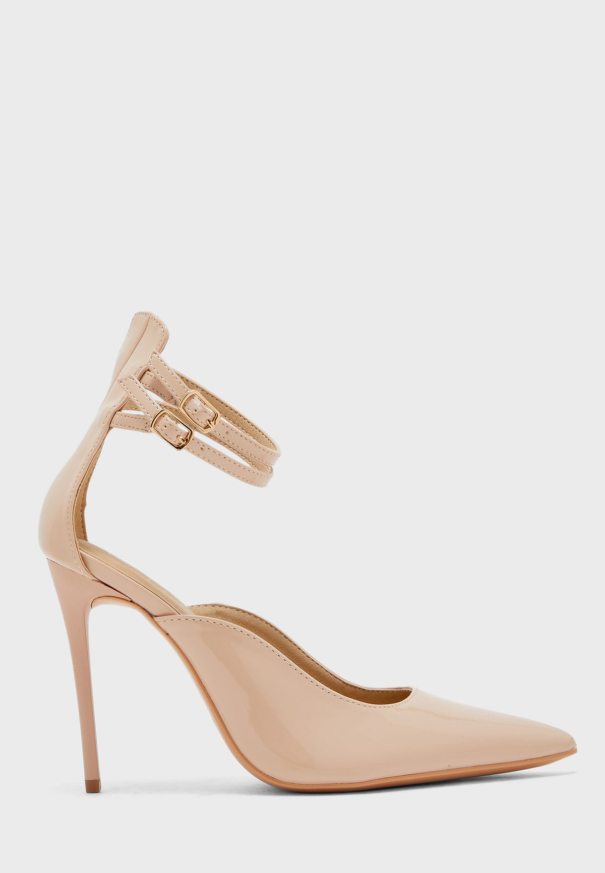 Double Ankle Strap Mid Heel Pump
