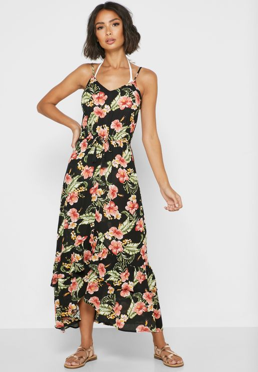 فستان بحر بطبعات ازهار