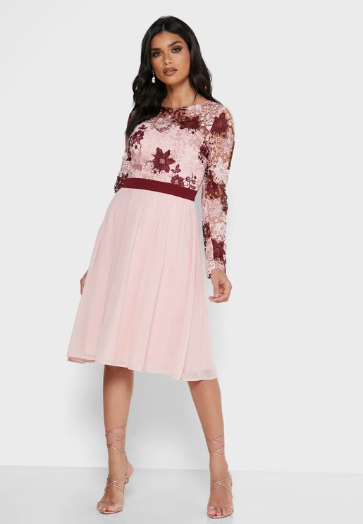 Lace Floral Pleated Dress