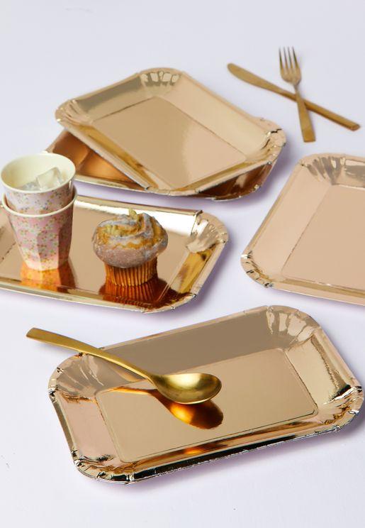 Set Of 6 Small Rectangular Paper Plates