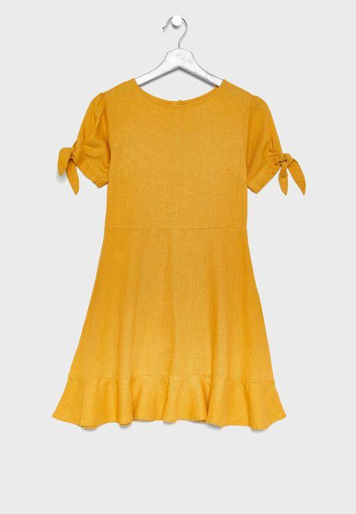 فستان بأربطة على الاكمام