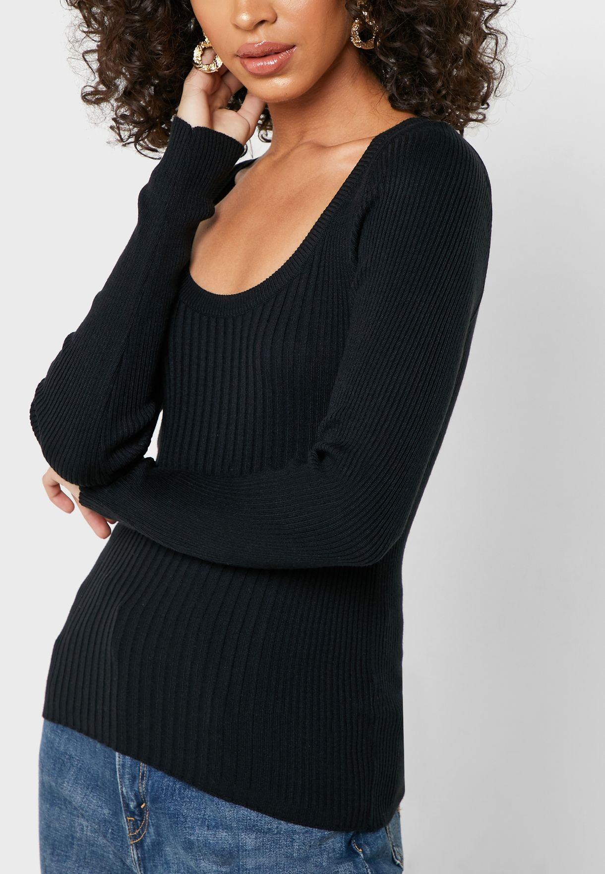 Ribbed Scoop Neck Top