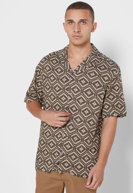 Mini Mono Tile Print Slim Fit Shirt