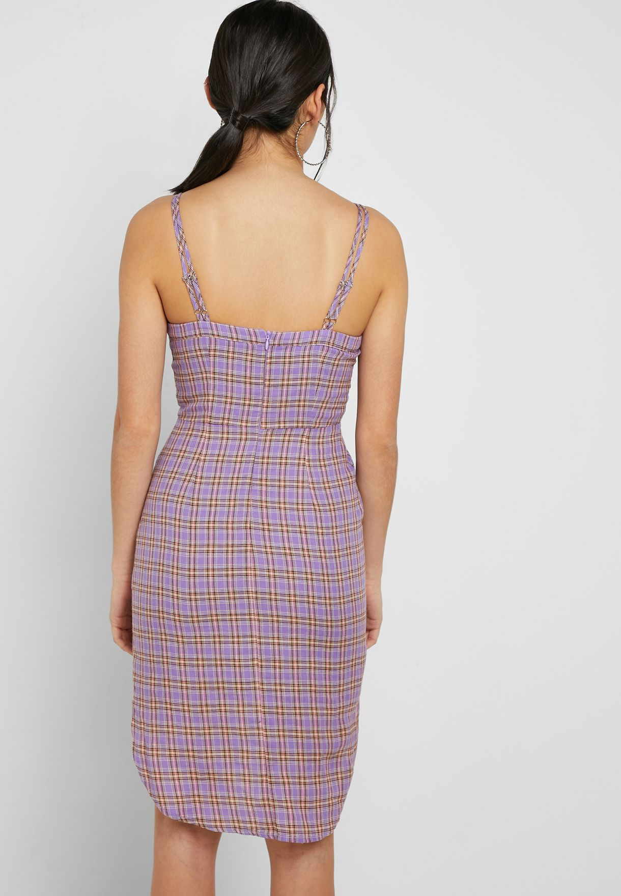 Checked Twist Front Cami Dress