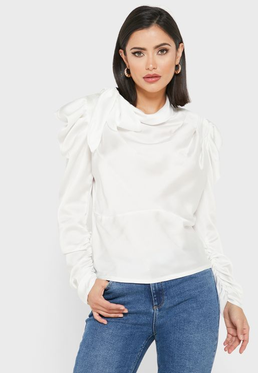 Tie Neck Ruched Sleeve Top