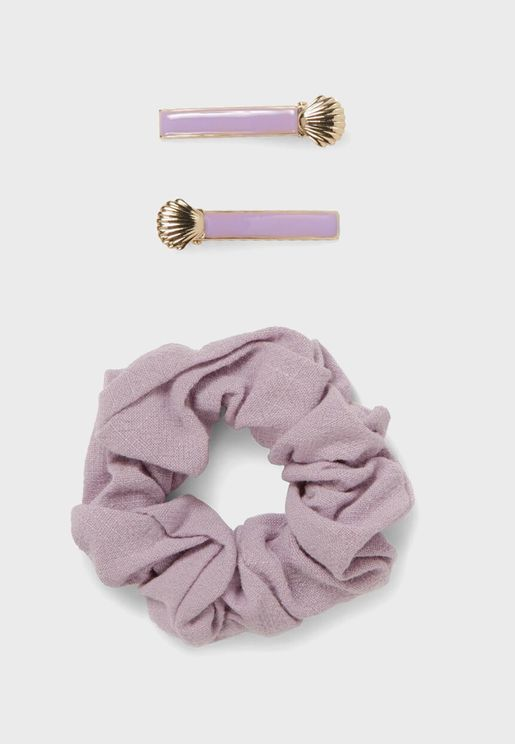 Kids Shell Detail Hairclip + Hairband Set