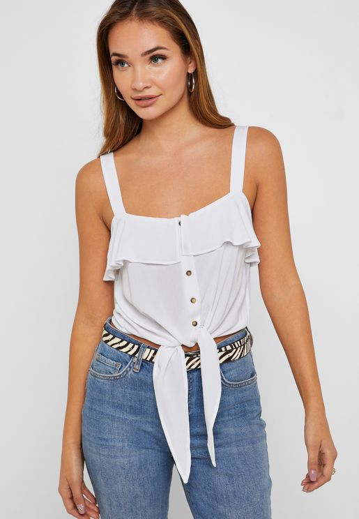 Button Down Front Knot Top