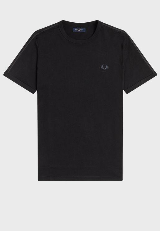Tonal Taped Ringer Crew Neck -Shirt