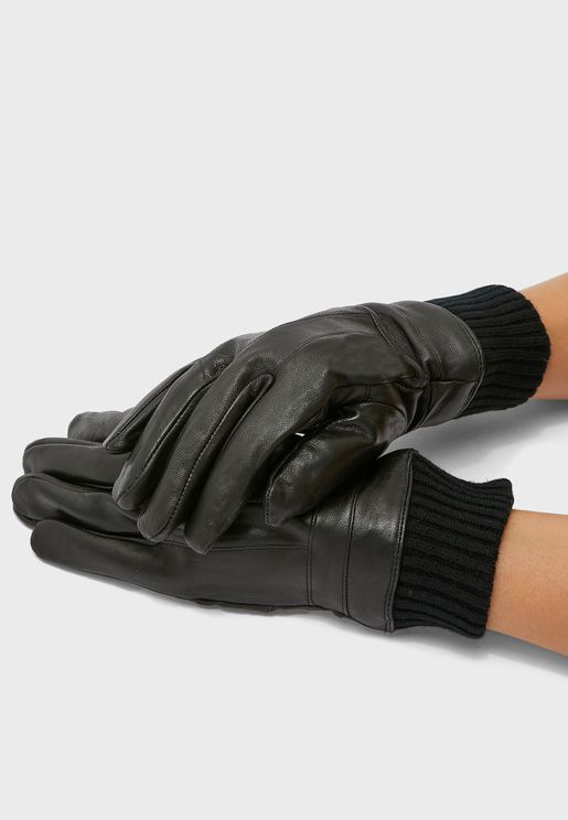 MENS GLOVES WITH LEATHER TOP AND PALM